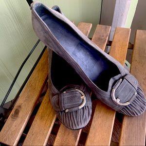 Stuart Weitzman gray suede wedge buckle size 10